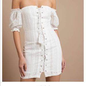White off shoulder tie up dress